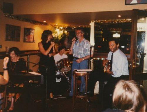 With Dad Noel Russell, Mum Peg on keys, Garry Schulz drums, Larry Cozzi bass, 1997